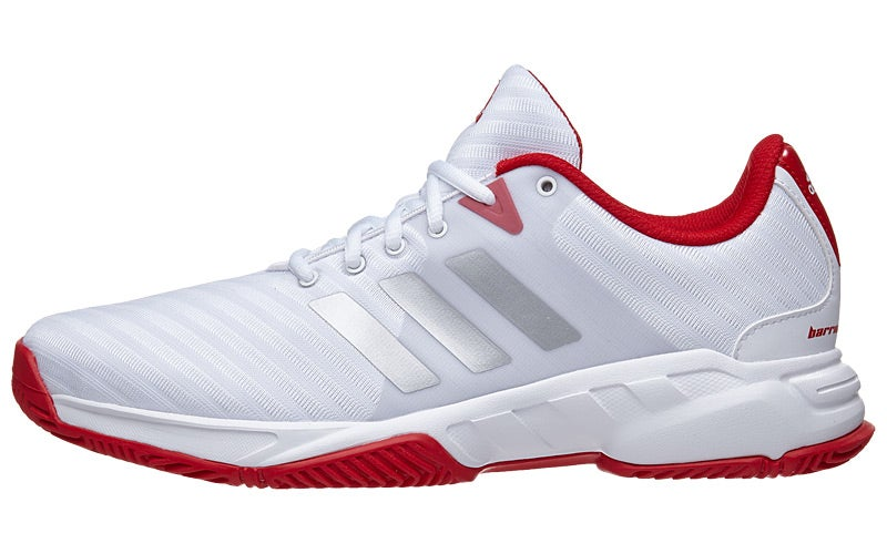 White Side By Side >> adidas Barricade Court 3 White/Sil/Scarlet Men's Shoes 360° View