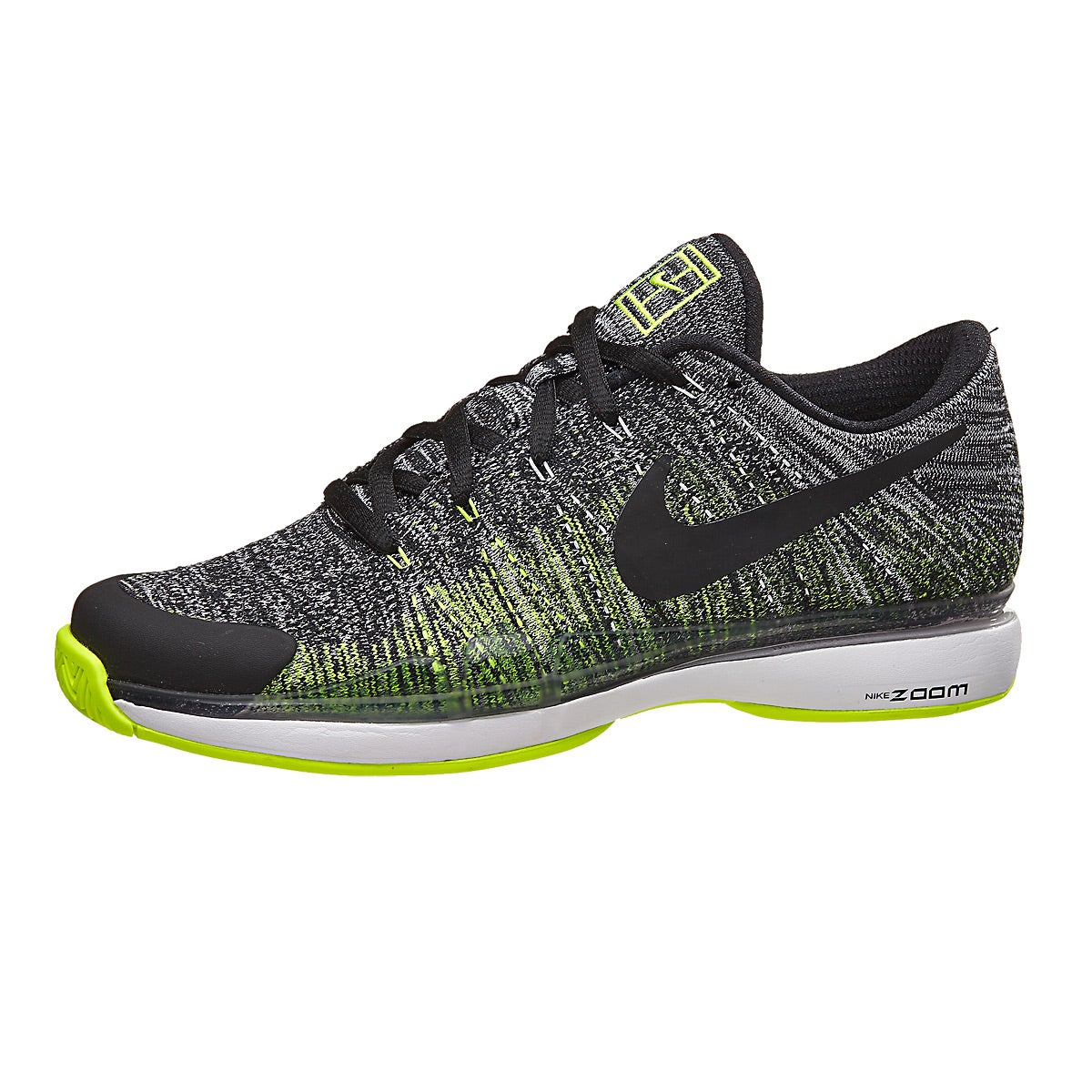 Nike Zoom Vapor 9.5 Flyknit Bk/Volt/Wh Men's Shoe 360° View.