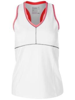 Lucky In Love Women`s Interlace Tennis Tank Blue Bell