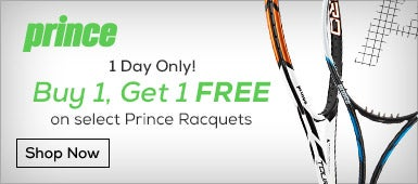 One Day Only: buy one get one FRR on select Prince racquets.
