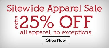 Sitewide Apparel Sale 25% Off All Apparel