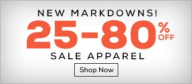New Markdowns, save up to 80% on Apparel