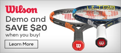 Demo and Save $20 when you buy a wilson burn racquet.