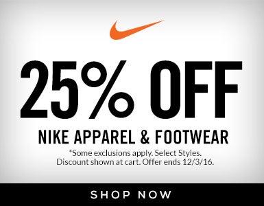25% Off Nike Apparel & Footwear