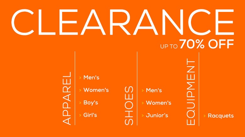 Sale! Up to 70% Off Apparel, Shoes, and Equipment!