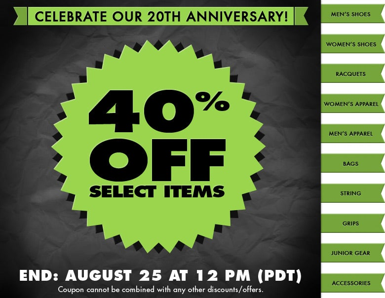 Celebrate Our 20th Anniversary - 40% Off Select Items