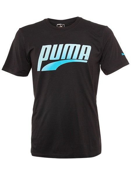 Puma Men's Summer Performance Graphic T-Shirt in Black w/ Blue & White