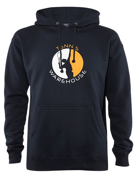 Tennis Warehouse Men's Split Sets Hooded Sweatshirt in Navy w/Orange & white