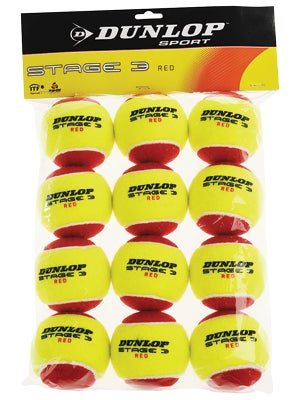 Dunlop Stage 3 Ball Red Felt Ball 12 Pack