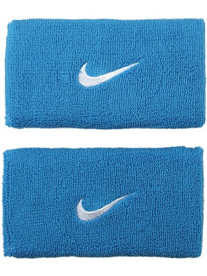 Nike Swoosh Double-Wide Wristband Blue Glow