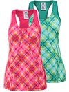 adidas Women's Powerluxe No Fuss Plaid Tank
