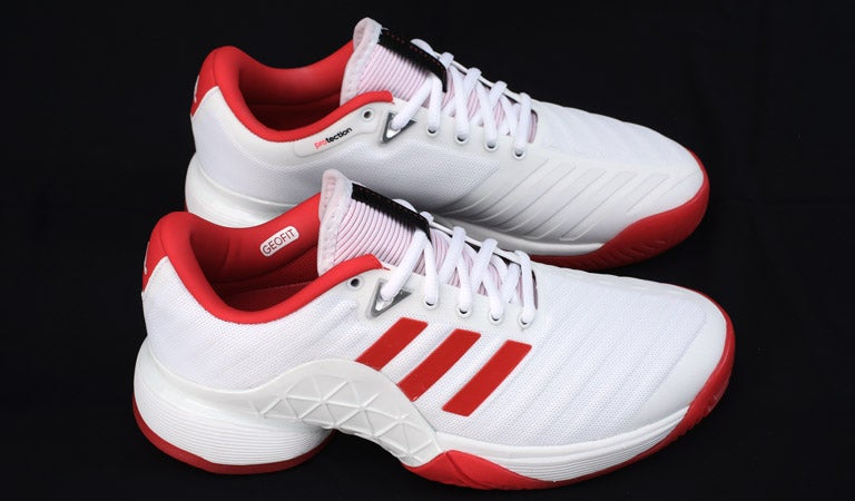862ea11a0402ee Tennis Warehouse - adidas Barricade 2018 White Scarlet Women s Shoes ...