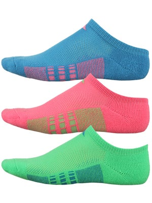 adidas Girl's Cushion 3-Pack No Show Socks Bl/Pk/Gn