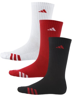 adidas Men's 3-Stripe 3-Pack Crew Socks Rd/Wh/Bk