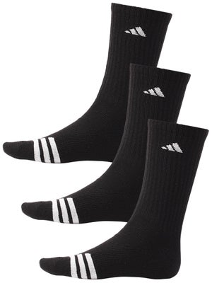 adidas Men's New 3-Stripe Crew 3-Pack Socks Black