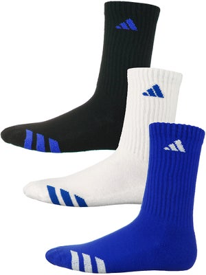 adidas Youth Striped 3-Pack Crew Socks Bl/Wh/Bk