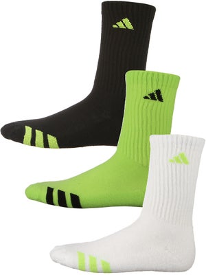adidas Youth Striped 3-Pack Crew Socks Gr/Wh/Bk