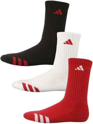 adidas Youth Striped 3-Pack Crew Socks Rd/Wh/Bk