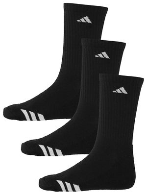 adidas Youth Striped 3-Pack Crew Socks Black