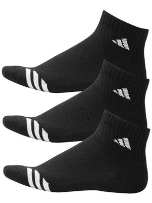 adidas Youth Striped 3-Pack Quarter Socks Black