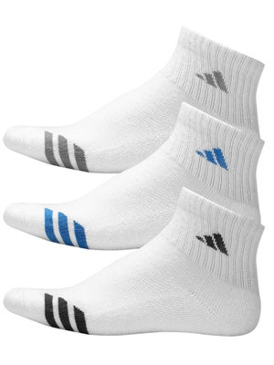 adidas Youth Striped 3-Pack Quarter Socks White