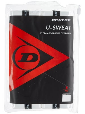 Dunlop U-Sweat Overgrip White 12-Pack Zipper