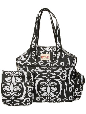 Jet Tote Bag Black and White Paisley