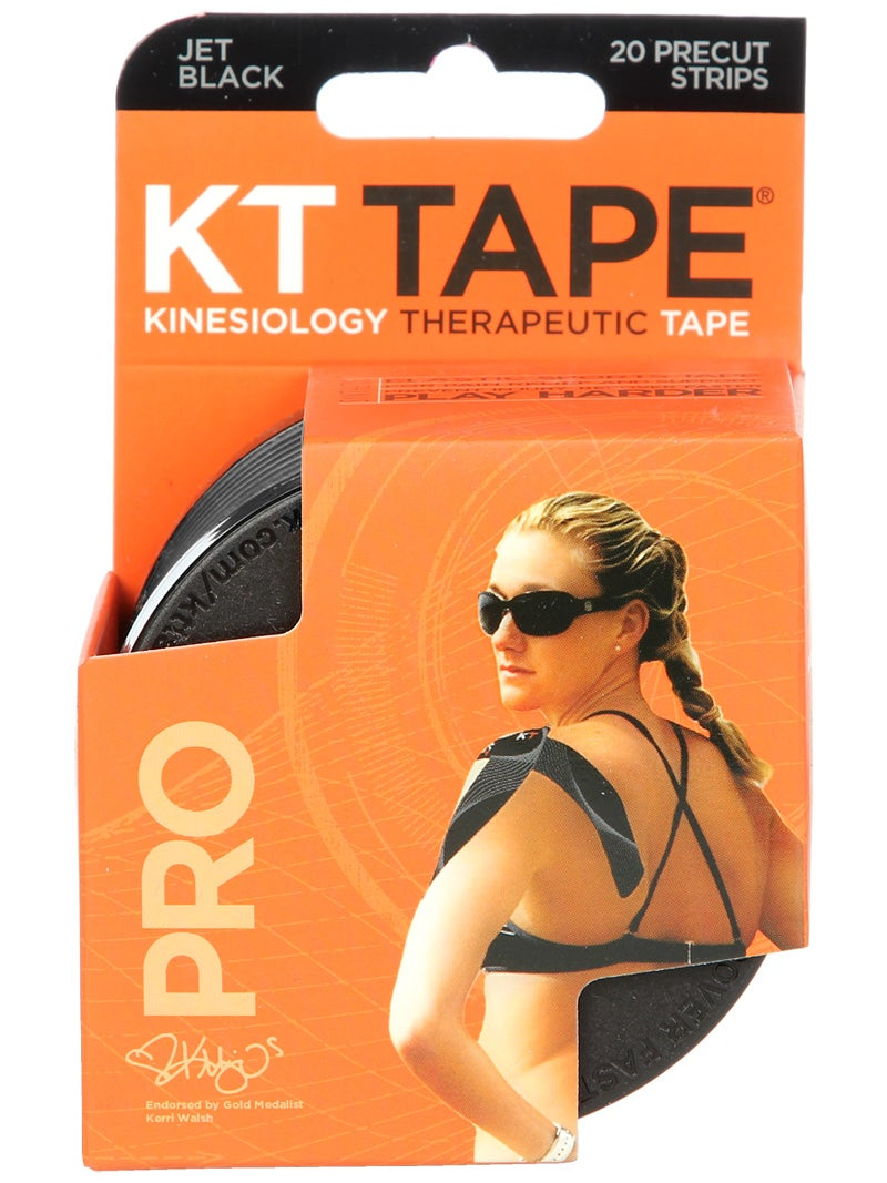 KT Tape Pro Jet Black 20 Precut Strips Kinesiology//Therapeutic//Synthetic//NEW