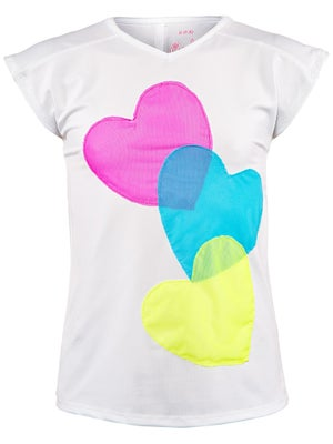 Lucky In Love Girl's Mesh Heart Cap Sleeve