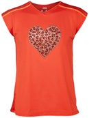 Lucky Girl's Mini Leopard Swing Back Top Crimson M