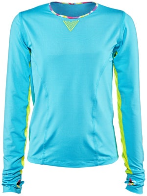 Lucky In Love Girl's Mesh Trim Long Sleeve Top
