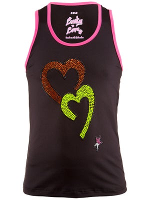 Lucky In Love Girl's Rhinestone Heart Tank