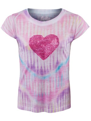 Lucky In Love Girl's Burnout Sequin Heart Tee