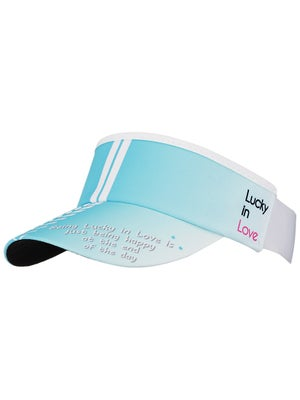 Lucky In Love Mayan Chevron Blue Stripe Visor