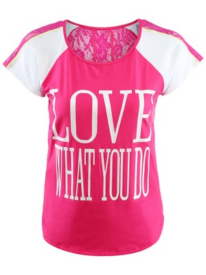 Lucky In Love Women's Lace Print Cap Sleeve