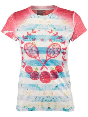 Lucky In Love Women's Tennis Stripe Tee
