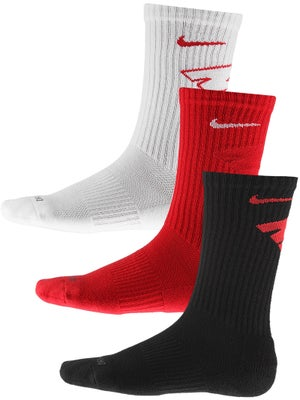 Nike Dri-Fit Crew Sock 3-Pack Red/Wh/Bk