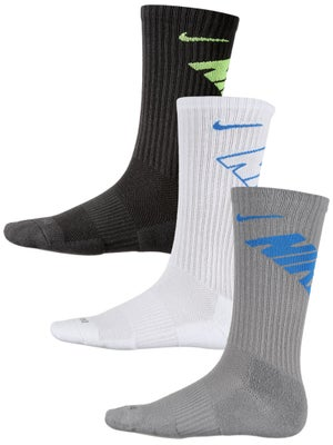 Nike Dri-Fit Fly Crew Sock 3-Pack Gy/Wh/Bl