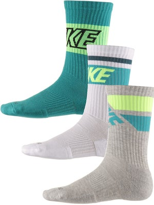 Nike Dri-Fit Fly Rise Crew Socks 3-Pack Wh/Turbo/Grey