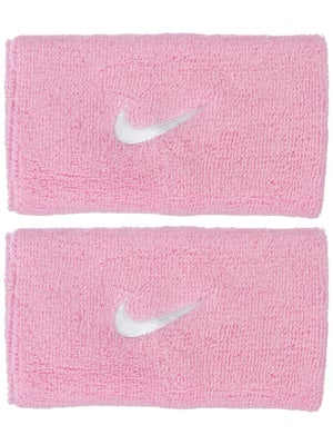 Nike Swoosh Double Wide Wristband Pink/White