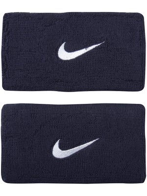 Nike Swoosh Double Wide Wristband Navy/White
