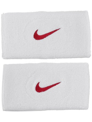 Nike Swoosh Double Wide Wristband White/Red