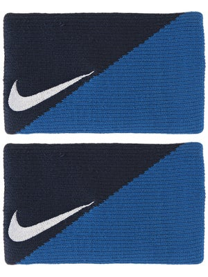 Nike Tennis Diagonal Doublewide Wristbands Navy/Blue