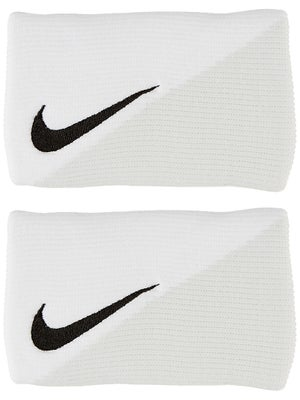 Nike Tennis Diagonal Doublewide Wristbands White/Grey