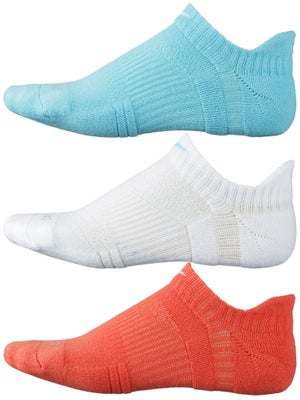 Nike Dri-Fit No-Show Socks 3-Pack Teal/Wh/Orange
