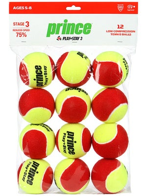 Prince Stage 3 Red Felt Ball 12 Pack