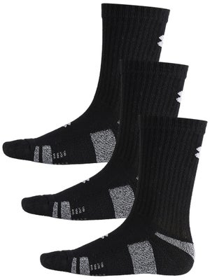 Under Armour Heatgear 3-Pack Crew Sock Black