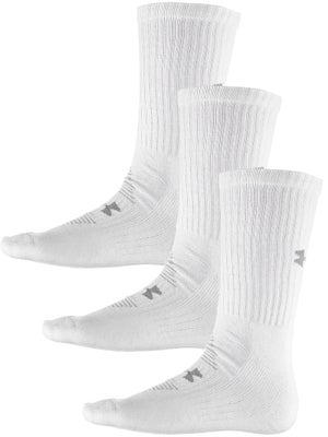 Under Armour Charged Cotton 3-Pack Crew Sock White