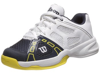 Wilson Rush Pro 2 White/Navy/Yellow Junior Shoes