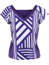 Jerdog Women's Purple Strands Deep V-Neck Top